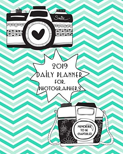 A photographer's daily calendar planner journal for 2019 featuring black and white retro style cameras, hearts, and flash burst on a chevron striped background of teal and white. This 2019 daily planner calendar for photographers is great for anyone ...