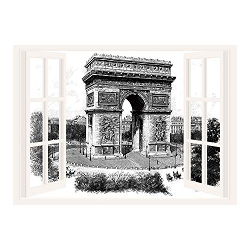 View Old Real Photo - SCOCICI Creative Window View Home Decor/Wall Décor-Vintage,Old Photo of Auguste Vitu Monument in Paris French Heritage Retro Picture,Black and White/Wall Sticker Mural