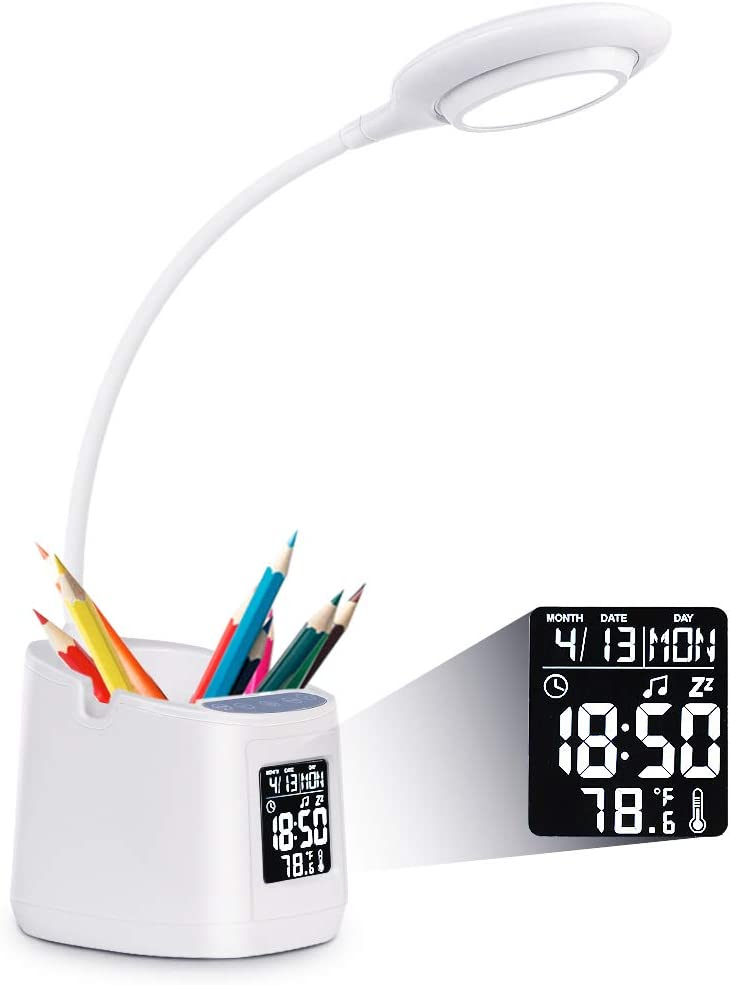 LED Desk Lamp for Home Office, Clock Lamp, Desk Light with Pen Holder&Phone Holder, Battery Operated Lamp, Kids Lamp for Girls/Boys, Study Lamp, 3 Color Modes& Stepless Dimming