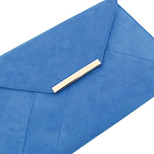Clutch Bag Suede Fashion Simple Envelope Evening DSUK Faux Women for Blue n1Ztw5q404