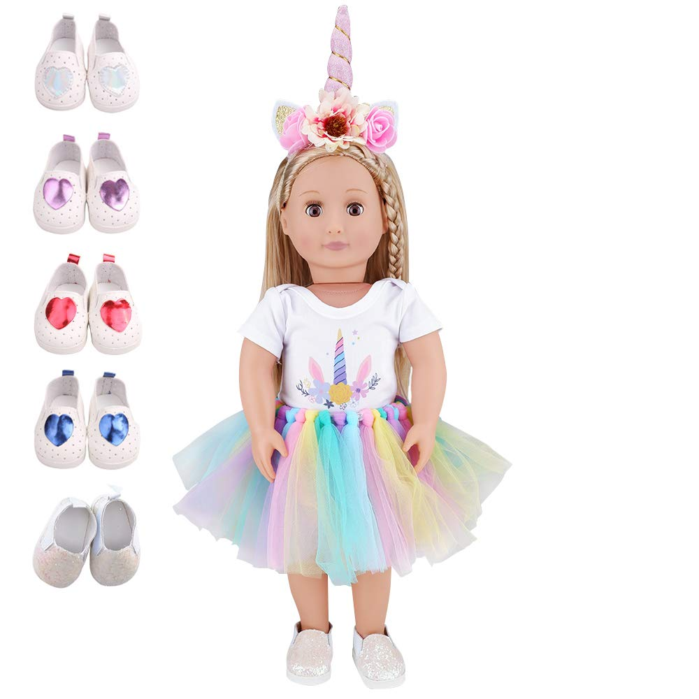 E-TING Dolls Unicorn Clothes, Headband, Tutu Fits for 18 inches Dolls, Our Generation, My Life, Adora, Gotz Doll Accessories Costume Outfits (Shoes Randomly Pick)