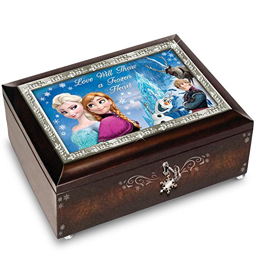 The Bradford Exchange Disney Frozen Brown Music Box Plays The Melody of Let It Go (Frozen Jewlery)