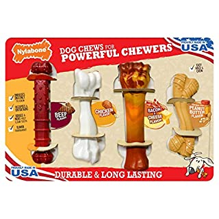 Nylabone Dog Chews for Powerful Chewers, 4 Pack