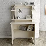 White Modern 36 in. Writing Desk with Hutch | Perfect Space Saving Contemporary Home Office or College Student Dorm Storage Table for Your Computer, PC, Laptop, Monitor, Books and Supplies