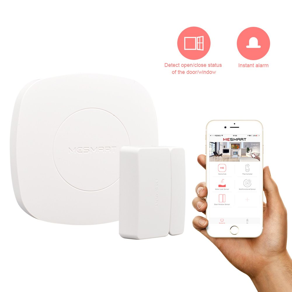 MESMART Smart Magnetic Sensor Home Hub Included Wireless House Privacy Security Protector Door Window Drawer Garage Cabinets Close Open Reminder Notification Alarm on APP, Compatible with Amazon Alexa