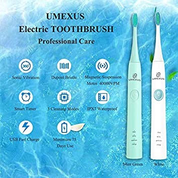 UMEXUS Electric Toothbrush, Sonic Toothbrush Clean Ultra Whitening Toothbrush Rechargeable Smart Times 40000VPM White
