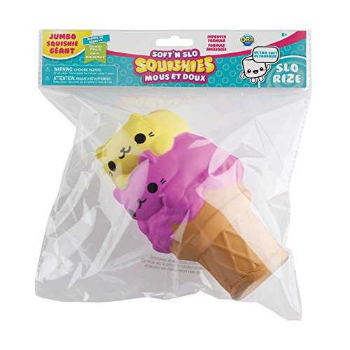 The Orb Factory Jumbo Kitty Ice Cream Cone Soft'n Slo Squishies, Pink/Yellow, 10.83