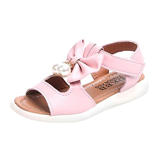 8c145a4db5bcb6 Axinke Kids Girls Fashion Summer Flat Princess Sandals Shoes with Bowknot  (Pink B