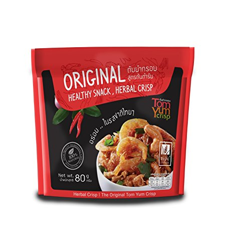 Enjoy Life Tom Yum Goong Flavor with Shrimp, Squid and Cashew nut Crips, Original Healthy Snack and Healthy Herbal Crips, 80 grams by Thai Tanya