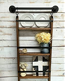 Rustic Ladder Shelf With Hooks Farmhouse Industrial Shelves