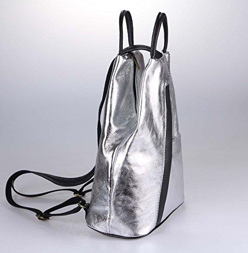 OBC Made in Italy Damen echt Leder Rucksack Lederrucksack Tasche Schultertasche Ledertasche Daypack Backpack Handtasche Nappaleder (Gold-Rot) Silber-schwarz