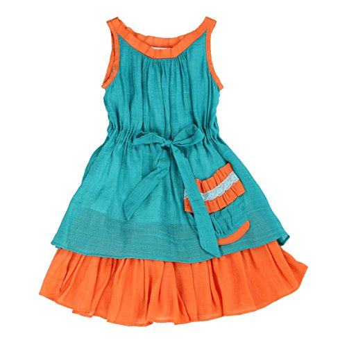 TheSillySissy - Toddlers and Girls Prairie Vibe Dress | Perry Patterson's Billows in Teal and Orange -