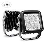 Nilight NI34C-27W 4.5' 27W LED (Flood Beam 5D Projector Lens Square Off Road Driving Fog Light Work Lamp, 2 Years Warranty, 2PCS)