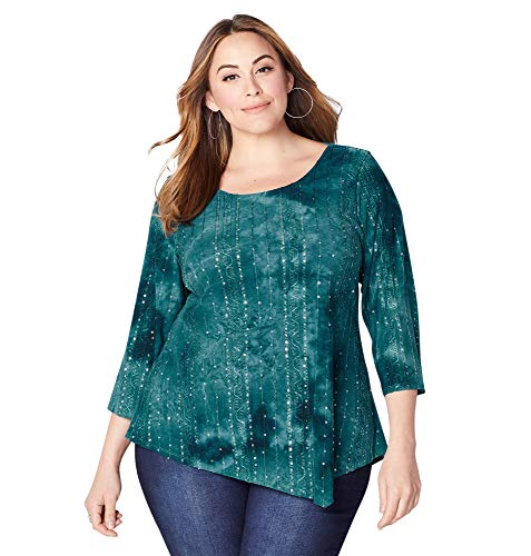 Sequin Tie Dye - Avenue Women's Tie Dye Sequin Asymmetric Top, 18/20 Teal