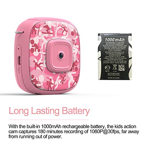AKAMATE Kids Action Camera Waterproof Video Digital Children Cam 1080P HD Sports Camera Camcorder for Boys Girls, Build-in 3 Games, 32GB SD Card (Pink) by AKAMATE (Image #7)