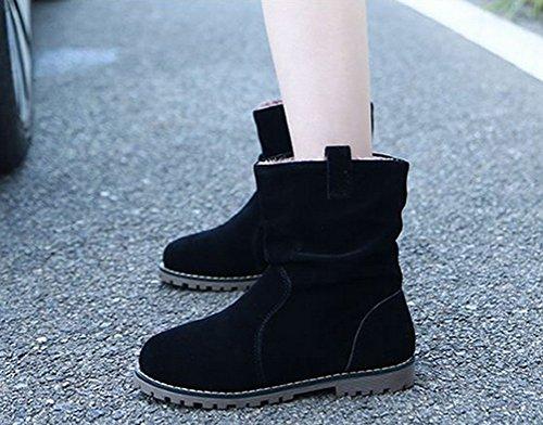 Brinny Damen Stiefeletten Western Stiefel Boots Flache Schlupfstiefel Schuhe Wildleder - Schwarz / Blau / Dunkelkhaki 10 Größe: 34-43 Schwarz