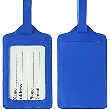 Lizimandu PU Leather Luggage Tags Suitcase Labels Bag Travel Accessories - Set of 2