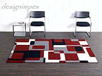 Teppich schwarz rot  Design Teppich Retro 160 x 230 cm Bordeaux Rot Beige Creme Schwarz ...
