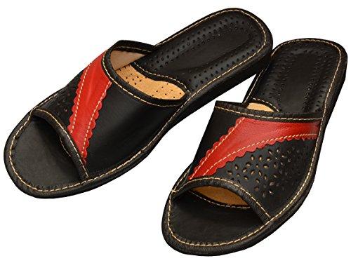 Bawal - Zapatillas de estar por casa de Piel para mujer azul azul 36 rojo/negro