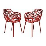 LeisureMod Devon Modern Aluminum Indoor-Outdoor Stackable Side Dining Arm Chair, Set of 2 (Red)