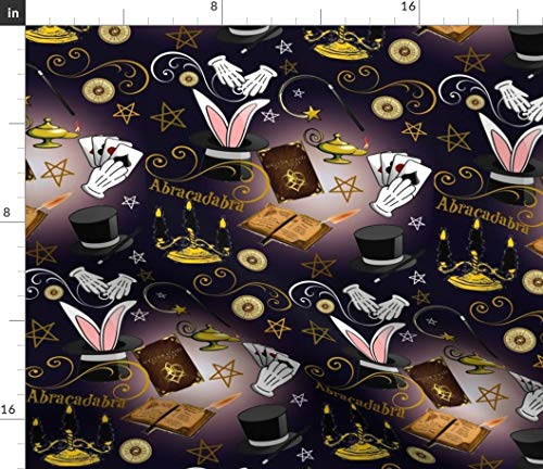 Spoonflower Magic Fabric - Magician Mystical Magic Show Abracadabra Halloween Rabbit by Bluevelvet Printed on Petal Signature Cotton Fabric by The Yard -