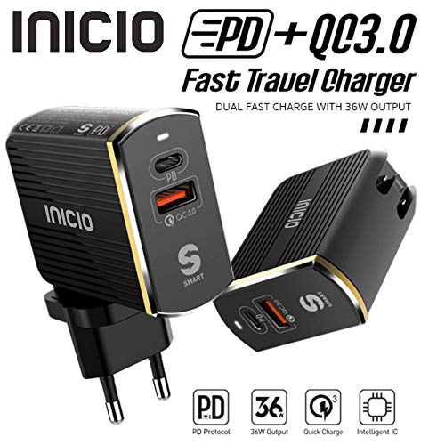 INICIO USB Type C 36W PD + Qualcomm QC 3.0 2-Port Wall Charger USB-C Power Delivery Compatible for iPad Pro iPhone 11 Pro XS Max XS XR 8 8 Plus X Galaxy Note 10 9 8 S10 S8 Pixel 4 3 XL (B07WP55YK2) Amazon Price History, Amazon Price Tracker