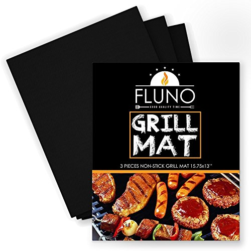 FLUNO Grill Mat-Set of 3 - Heavy-Duty, Non-Stick Grilling Sheet, Durable Mat, Reusable, Easy To Clean, PFOA Free, FDA Approved, 15.75x13 Inches -1 Year Warranty-Black