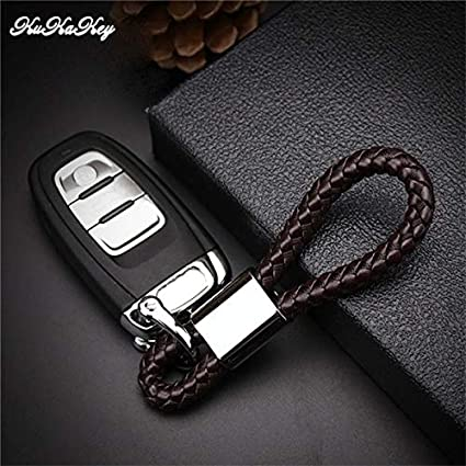Amazon.com : Key Rings Hand Woven PU Leather Car Key Ring ...