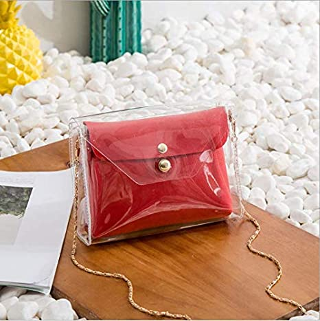 OneMoreT - 2 bolsas de hombro transparentes para mujer y niña, bolsa de mensajero, rojo