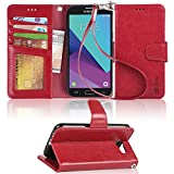 Galaxy J3 emerge case, Arae samsung galaxy J3 emerge 2017 wallet Case with Kickstand and Flip cover, Red