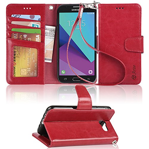 Galaxy J3 emerge case, Arae samsung galaxy J3 emerge 2017 wallet Case with Kickstand and Flip cover, Red by Arae