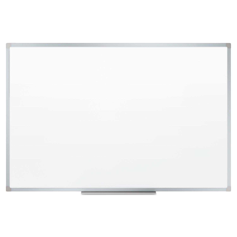 - Dry-Erase Board, Melamine Surface, 72 x 48, Silver Aluminum Frame -