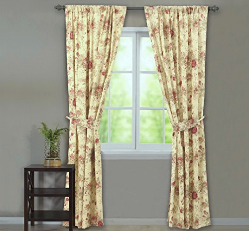 Cottage Romantic Floral Roses Print Pattern Cream Yellow Rod Pocket Window Curtains Panels Pair 84 Length Set of 2 (Tab Pink Curtains Top)