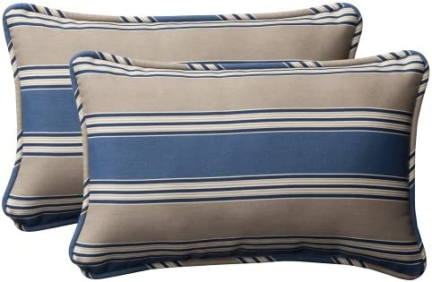 Pillow Perfect Decorative Blue Tan Striped Toss Pillows, Rectangle, 2-Pack