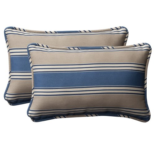 Pillow Perfect Decorative Blue/Tan Striped Toss Pillows, Rectangle, 2-Pack