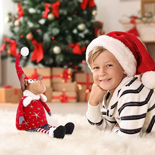 LURLIN Christmas Reindeer Stuffed Plush, Sitting Figurines Elk Doll, Great Gift for Xmas Home Decor Holiday Decoration…