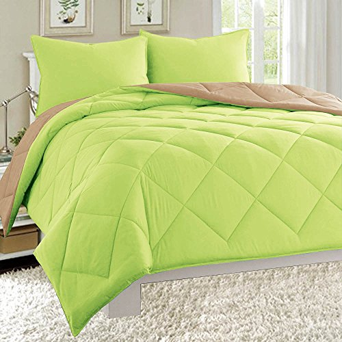 Dayton Reversible Down Alternative 3-Piece Comforter Set Soft Brushed Microfiber Quilted Bed Cover All Sizes (King, Lime Green & Taupe)