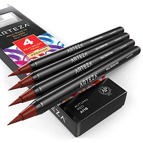 Arteza Real Brush Pens (A118 Autumn Red), Pack of 4, for Watercolor Painting with Flexible Nylon Brush Tips, Paint Markers for Coloring, Calligraphy and Drawing