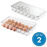 InterDesign Plastic Egg Holder for Refrigerator with Handle and Lid, BPA-Free Fridge Storage Organizer for Kitchen, Holds up to 21 Eggs, 14.57'' x 6.25'' x 3'', Set of 2, Clear