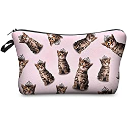 StylesILove Cute Graphic Pouch Travel Case Cosmetic Makeup Bag (Princess Cats)