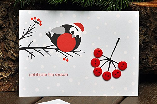 - Bullfinch and Rowan - Christmas Card - Card with Buttons - Greeting Card - Handmade Card - Gift - Gift for Christmas