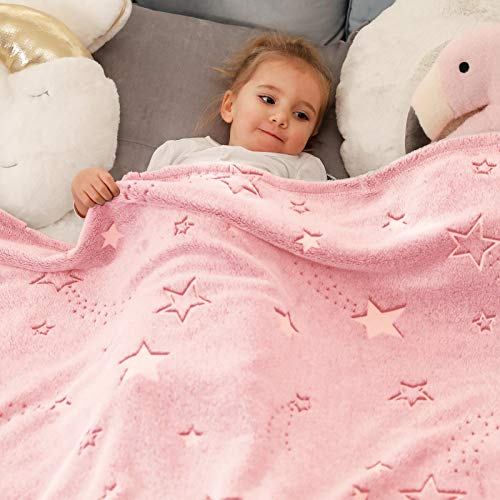 Cozy Bliss Glow in The Dark Throw Blanket, Premium Super Soft Fuzzy Fluffy Warm Cozy Powder Plush Blanket with Stars, Gift for Kids Girls Boys