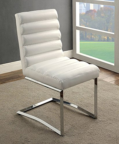 William's Home Furnishing CM3170WH-SC-2PK Livada I Side Chair, Chrome, White ()
