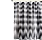 Red and Gray Shower Curtain Biscaynebay Textured Fabric Shower Curtain, Printed Plaid Bathroom Curtains, Black & Gray 72 by 72 Inch