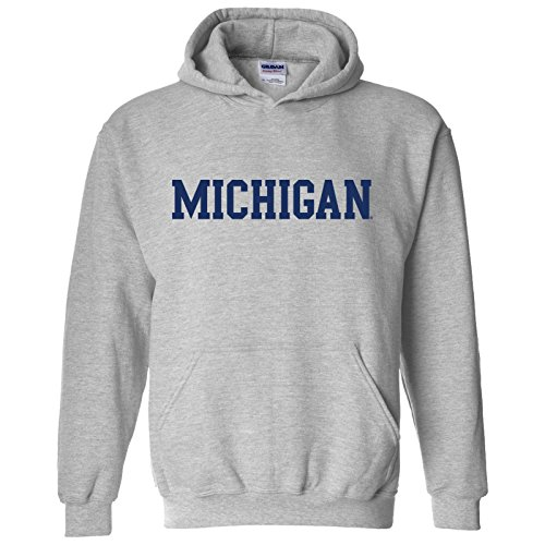 Michigan Wolverines Basic Block Hoodie - Large - Sport Grey