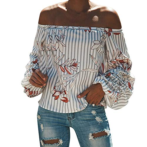 Women's Fashion Off Shoulder Tops Sexy Floral Print Striped Crop Tops Blouses Tunic(M,White) ()