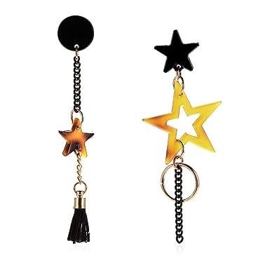 1bf301868 Amazon.com  eroute66 Asymmetric Acrylic Star Tassel Long Dangle Drop ...