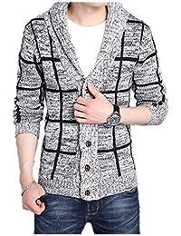 LANROON Men's Winter Warm Shawl Collar Plaid Cardigan Sweater