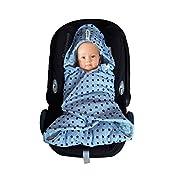 SWADDYL Baby boy swaddle blanket I car seat I stroller I hooded I bunting I newborn I Minky plush and 100% cotton I Made in Europe (Oldblue)