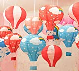 LifeGlow Crafts8482; Hot Air Balloon Paper Lantern Chinese Japanese Paper Lamps Party Paper Lanterns Lantern Ball Lamps Decorations Christmas String Lights Rainbow Mixed Colors 12'' (5 Pieces)